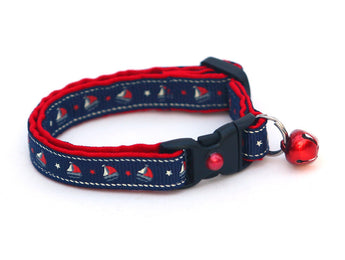 Sail Boats on Navy Cat Collar