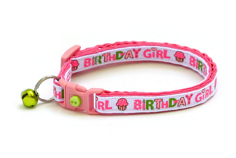 Birthday Girl on Pink Cat Collar