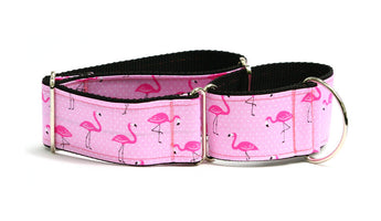 Fancy Pink Flamingos Greyhound Collar