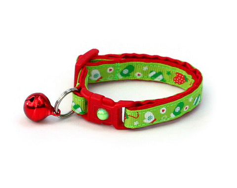 Red Mittens on Green Cat Collar