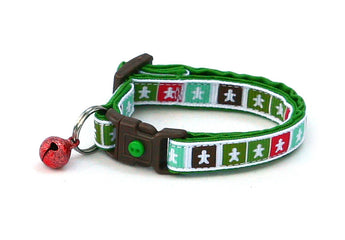 Gingerbread Men in Colorful Squares Cat Collar