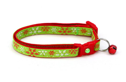 Red Snowflakes on Lime Green Cat Collar