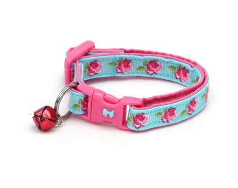 Pink Tea Party Roses on Blue Cat Collar