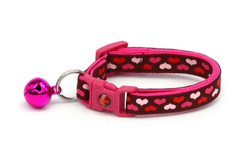 Pink Hearts on Brown Cat Collar