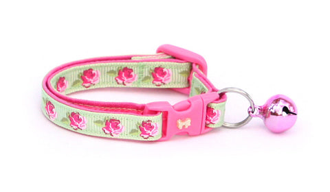 Pink Tea Party Roses on Green Cat Collar