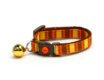 Orange, Brown, and Yellow Fall Harvest Stripes Cat Collar