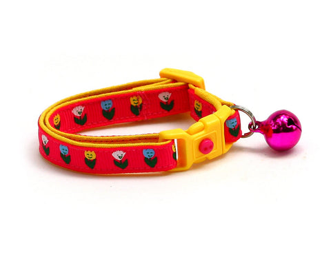 Happy Tulip Flowers on Bright Pink Cat Collar