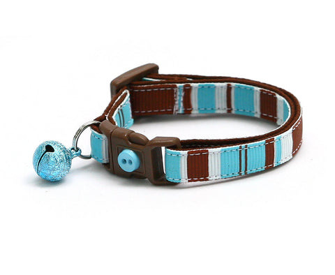 Brown, Blue, and White Stripes Cat Collar