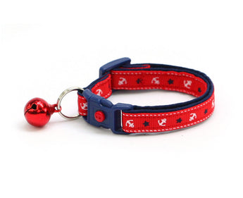 White Anchors on Red and Navy Blue Cat Collar