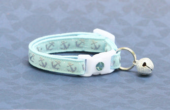 Shiny Silver Anchors on Baby Blue Cat Collar