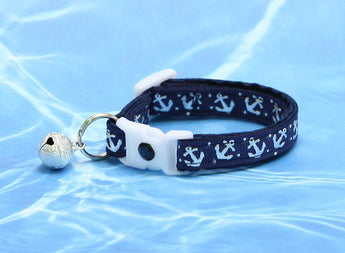 Shiny Silver Anchors on Navy Blue Cat Collar