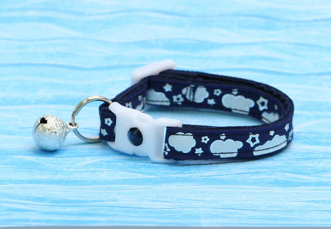 Shiny Silver Stars and Clouds on Navy Blue Cat Collar