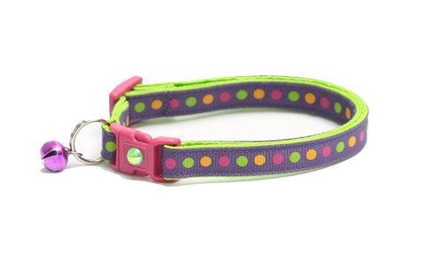 Colorful Dots on Plum Cat Collar