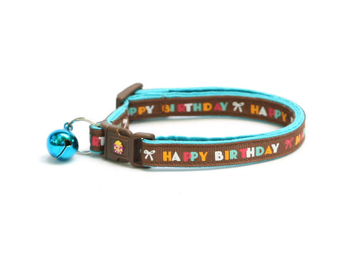 Happy Birthday on Brown Cat Collar