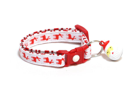 Red Reindeers on White Cat Collar