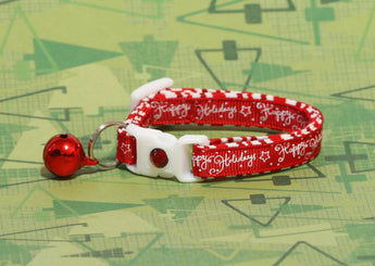 Happy Holidays on Red Cat Collar