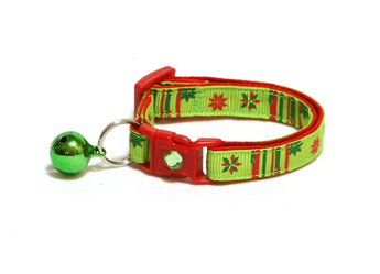 Poinsettia Flower on Bright Green Cat Collar