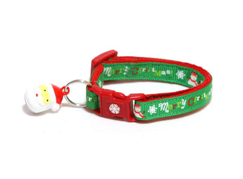 Merry Christmas Snowmen on Green Cat Collar