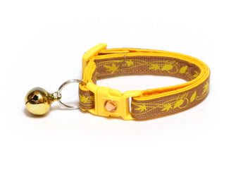 Yellow Leaves on Brown Cat Collar