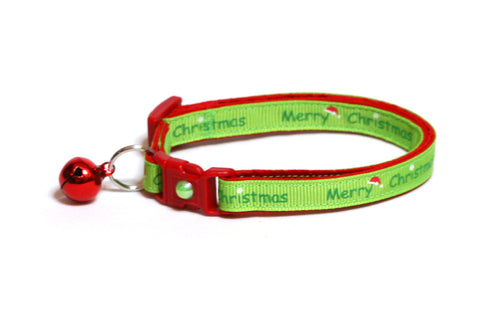 Merry Christmas on Lime Green Cat Collar
