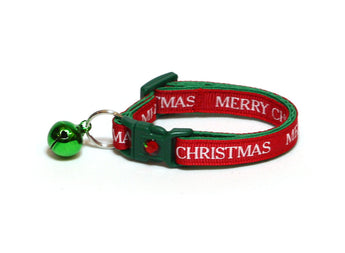 Bold Merry Christmas on Red Cat Collar