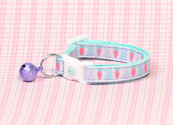 Pastel Easter Bunnies and Carrots on Purple Cat Collar
