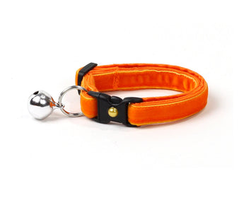 Bright Orange Velvet Cat Collar