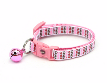 Mini Heart Stripes in Pink, Brown, & Red Cat Collar
