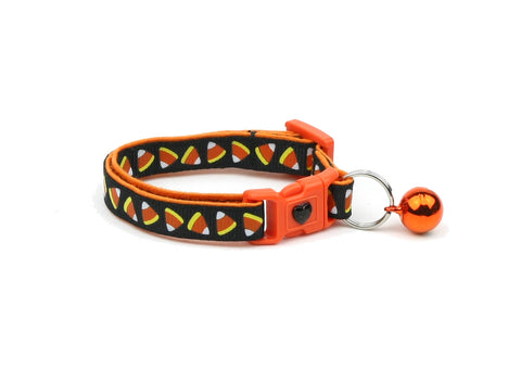 Candy Corn on Black Cat Collar