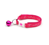 Happy Valentines Day on Bright Pink Cat Collar