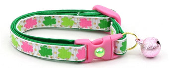 Pink and Green Shamrocks Cat Collar