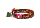 Fancy Fall Leaves on Brown Cat Collar