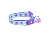 Purple Tea Party Roses on Blue Cat Collar
