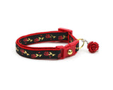 Red Roses and Gold Stems on Black Cat Collar
