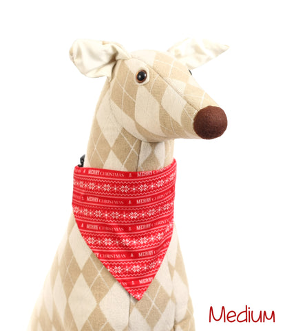 Red and White Merry Christmas Pet Bandana