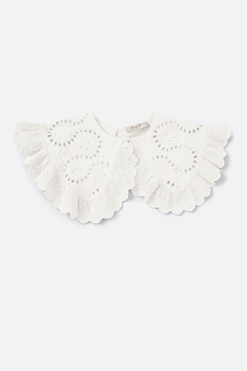 White-Marina Lace Collar-Flat View 1