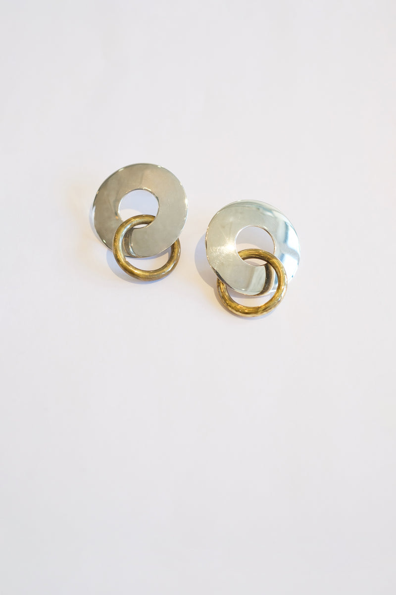Silver/Gold - Amie Two Tone Earrings Close View 2