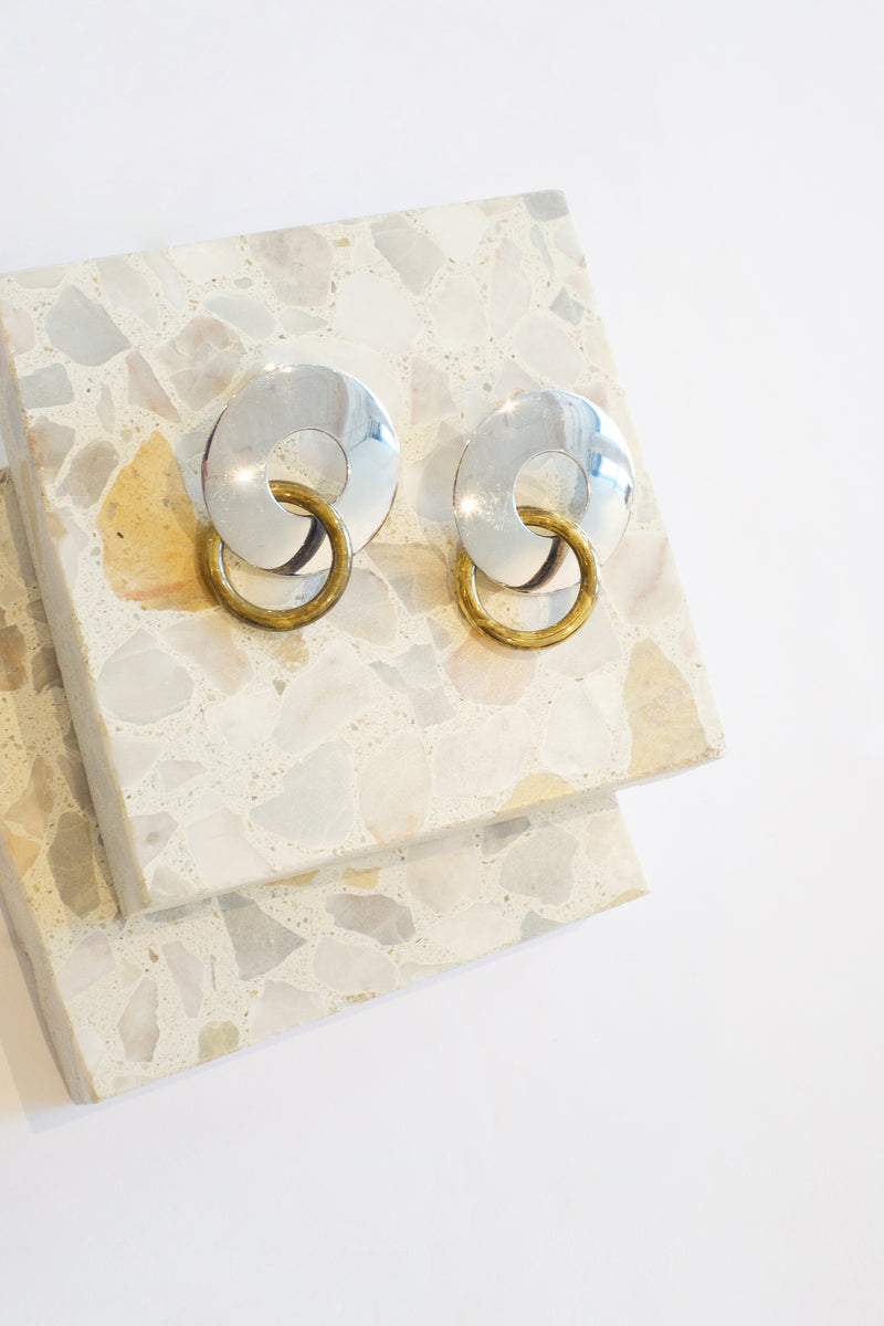 Silver/Gold - Ami Two Tone Earrings Front View 1