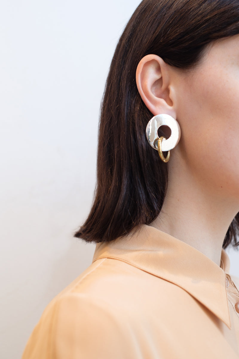 Silver/Gold - Amie Two Tone Earrings On Model View 3