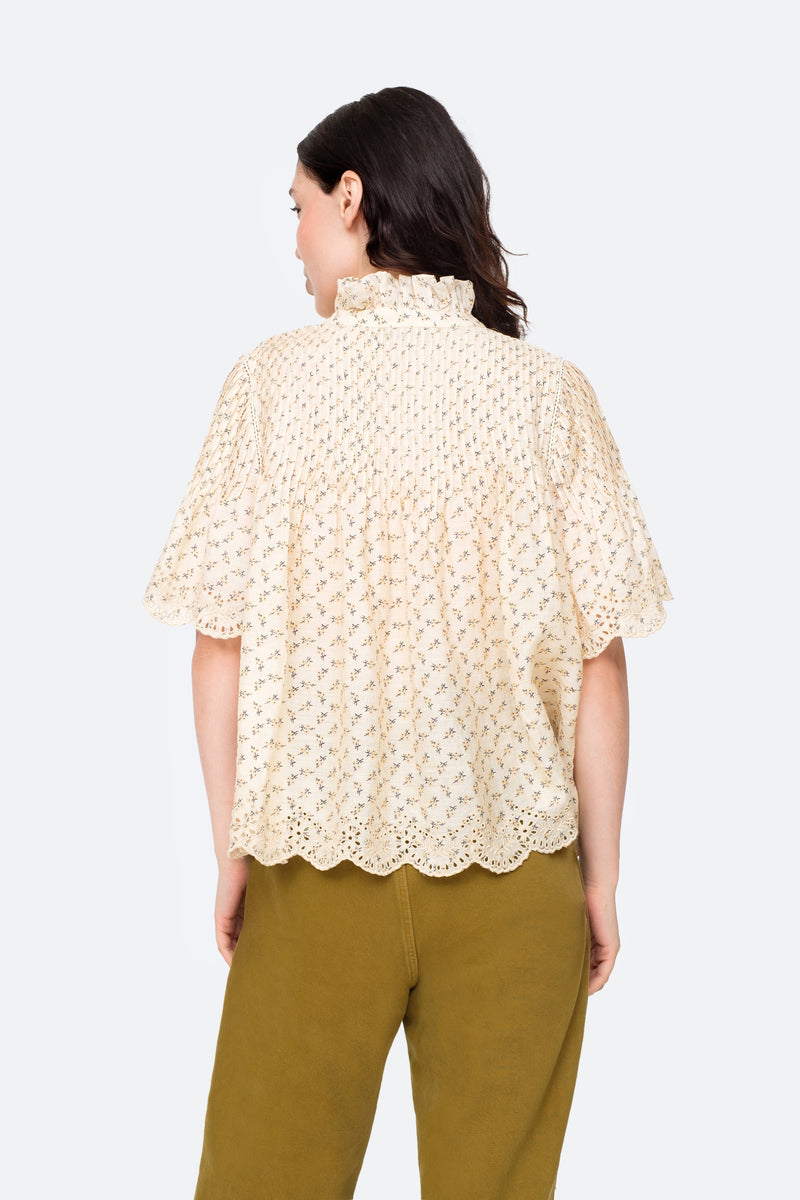 Cream-Ditsy Top-Back View 2