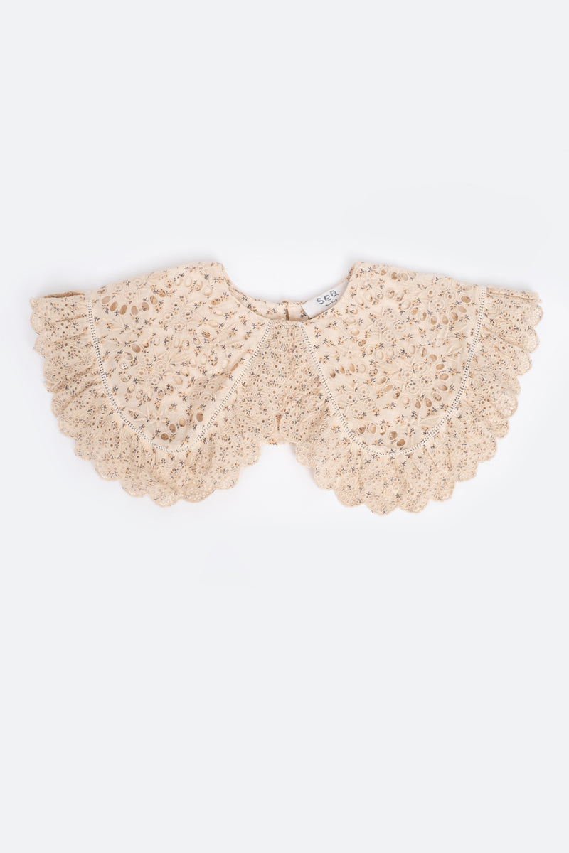 Cream-Embroidered Collar-Flat View 1