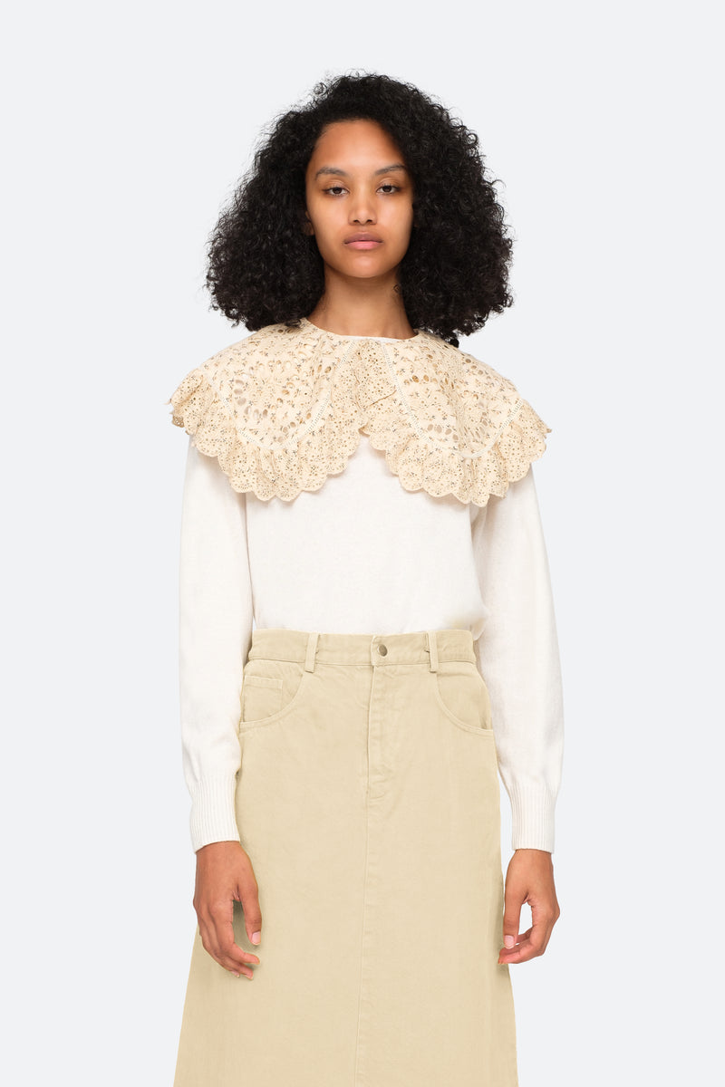 Cream-Ditsy Sweater-Tucked In View 10