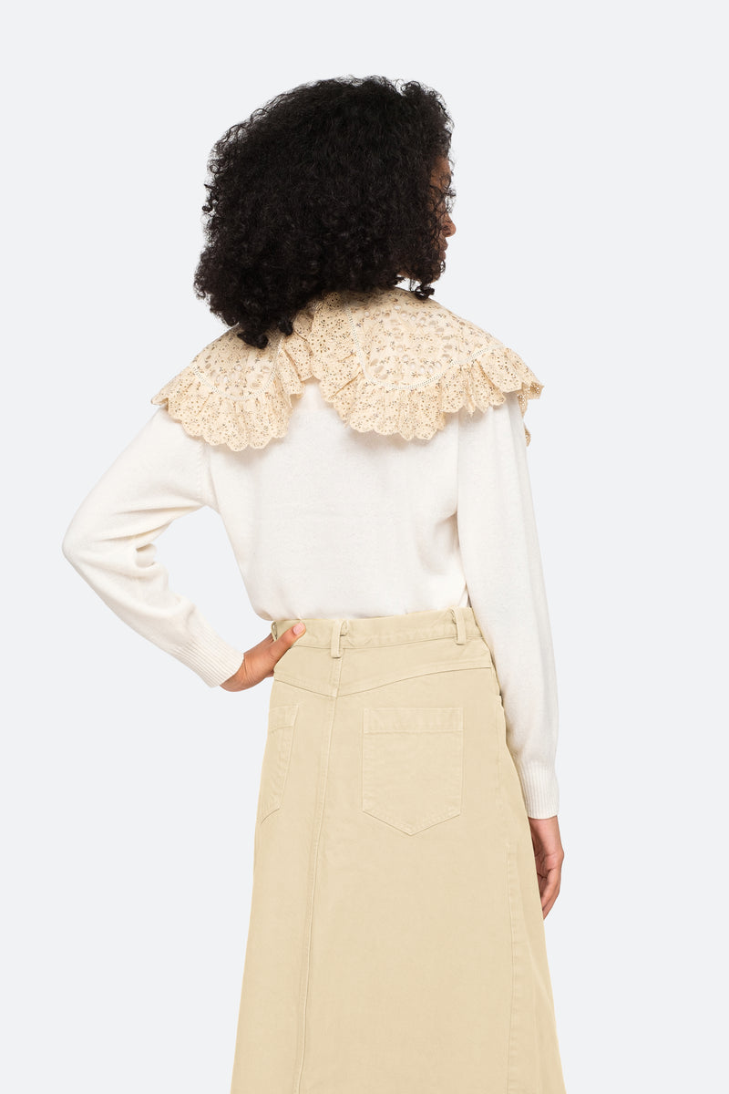 Cream-Ditsy Sweater-Back View 7