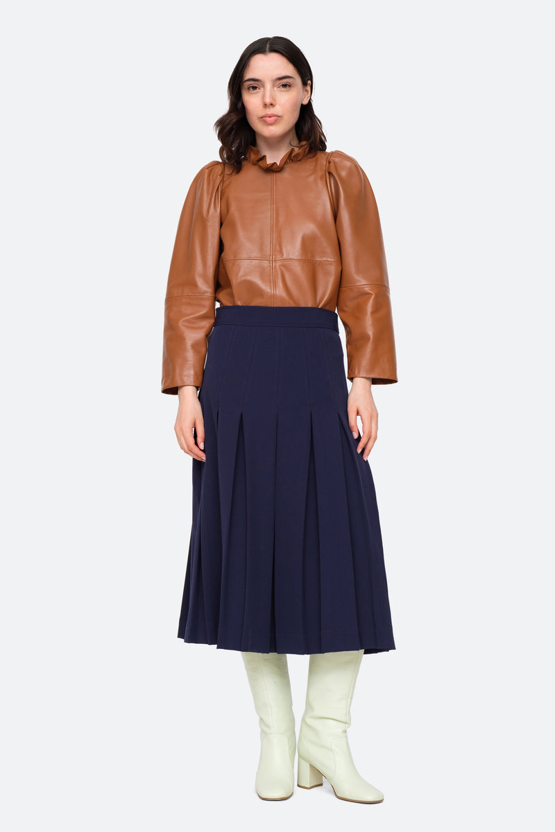 Navy-Lucien Skirt-Full Body View 2