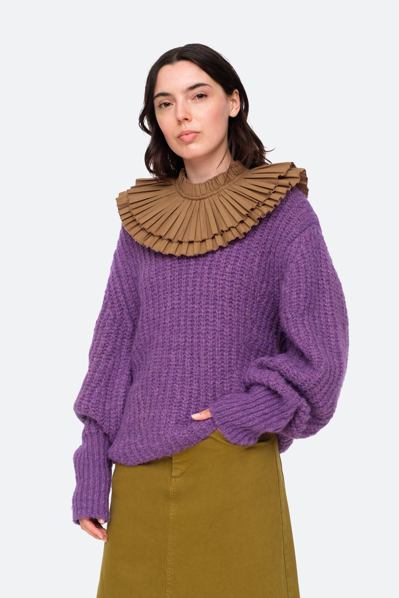 Purple-Octavia Sweater-Tucked Out View 6