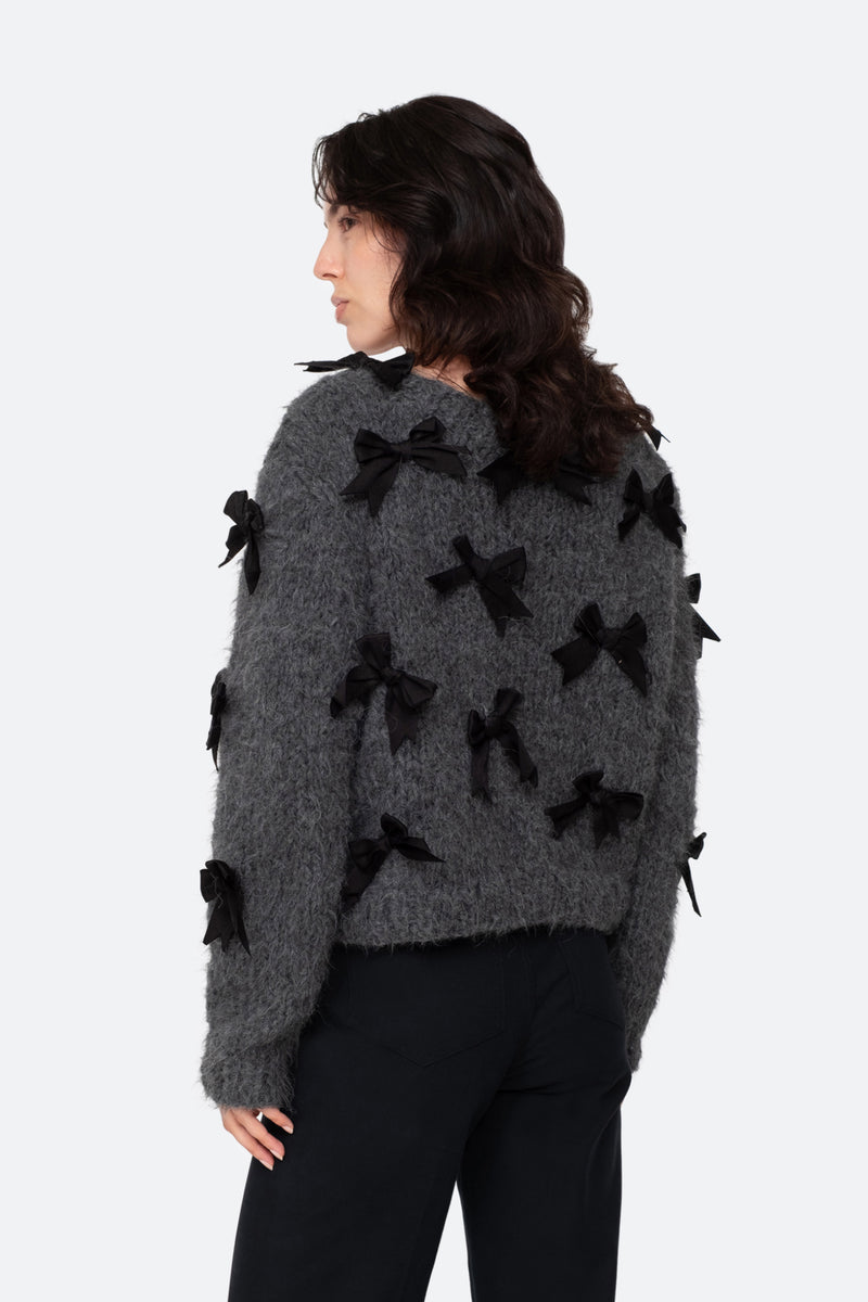 Charcoal-Bow Sweater-Back View 2