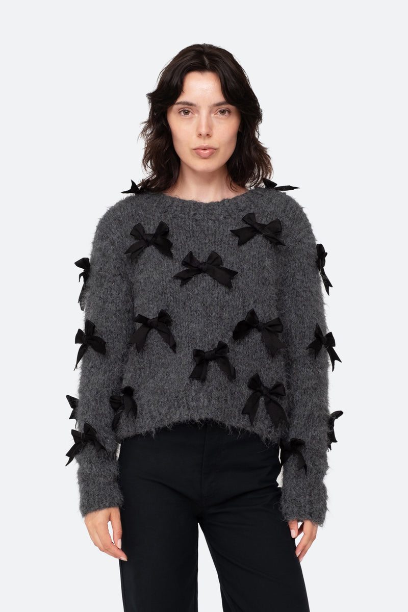 Charcoal-Bow Sweater-Front View 1