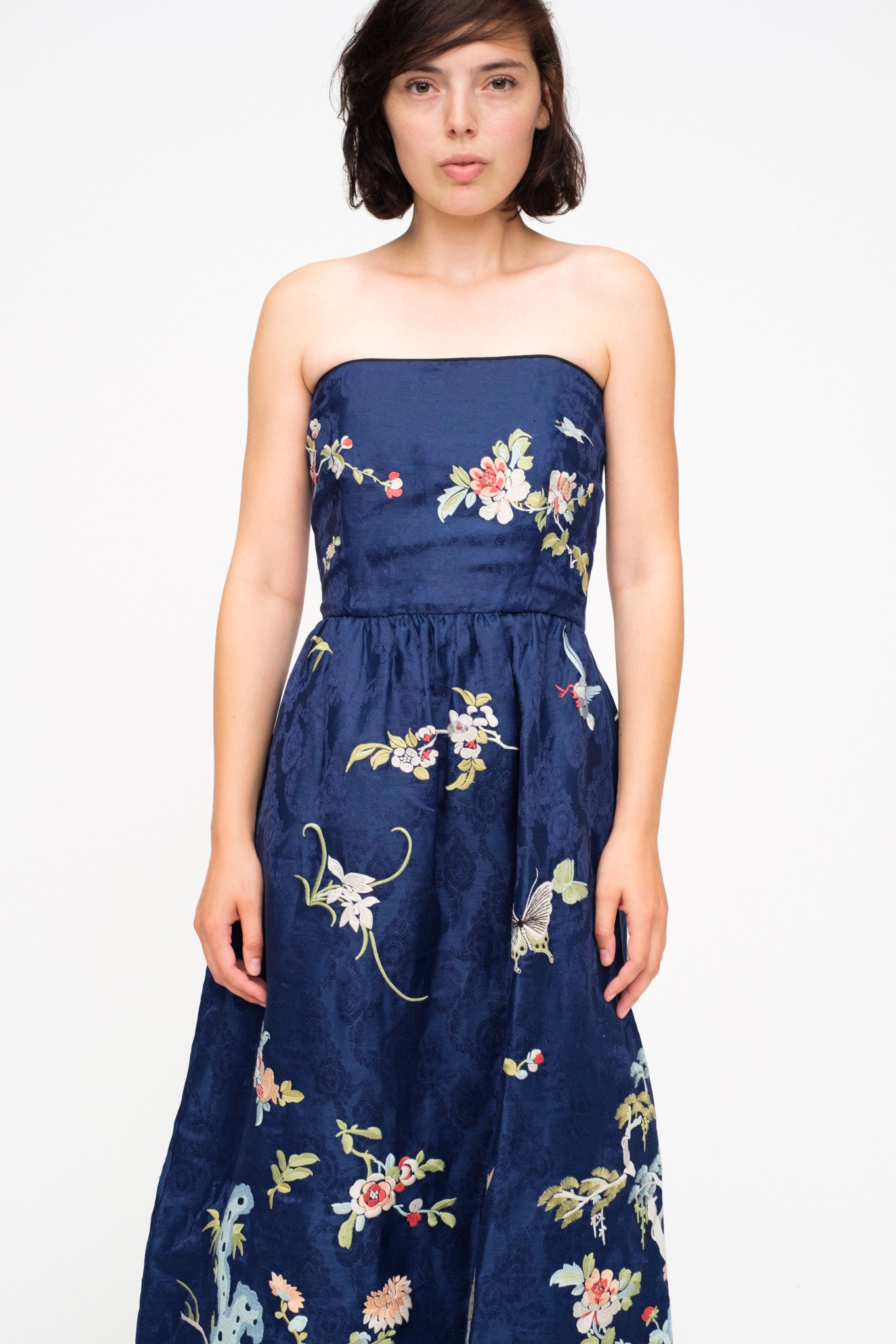 Floral Embroidered Strapless Party Dress