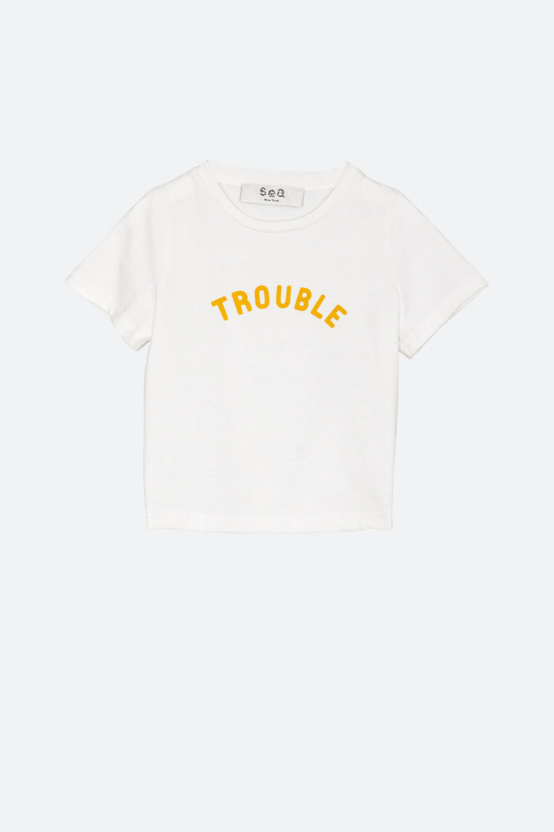 White-Trouble T-Shirt-Front View 1