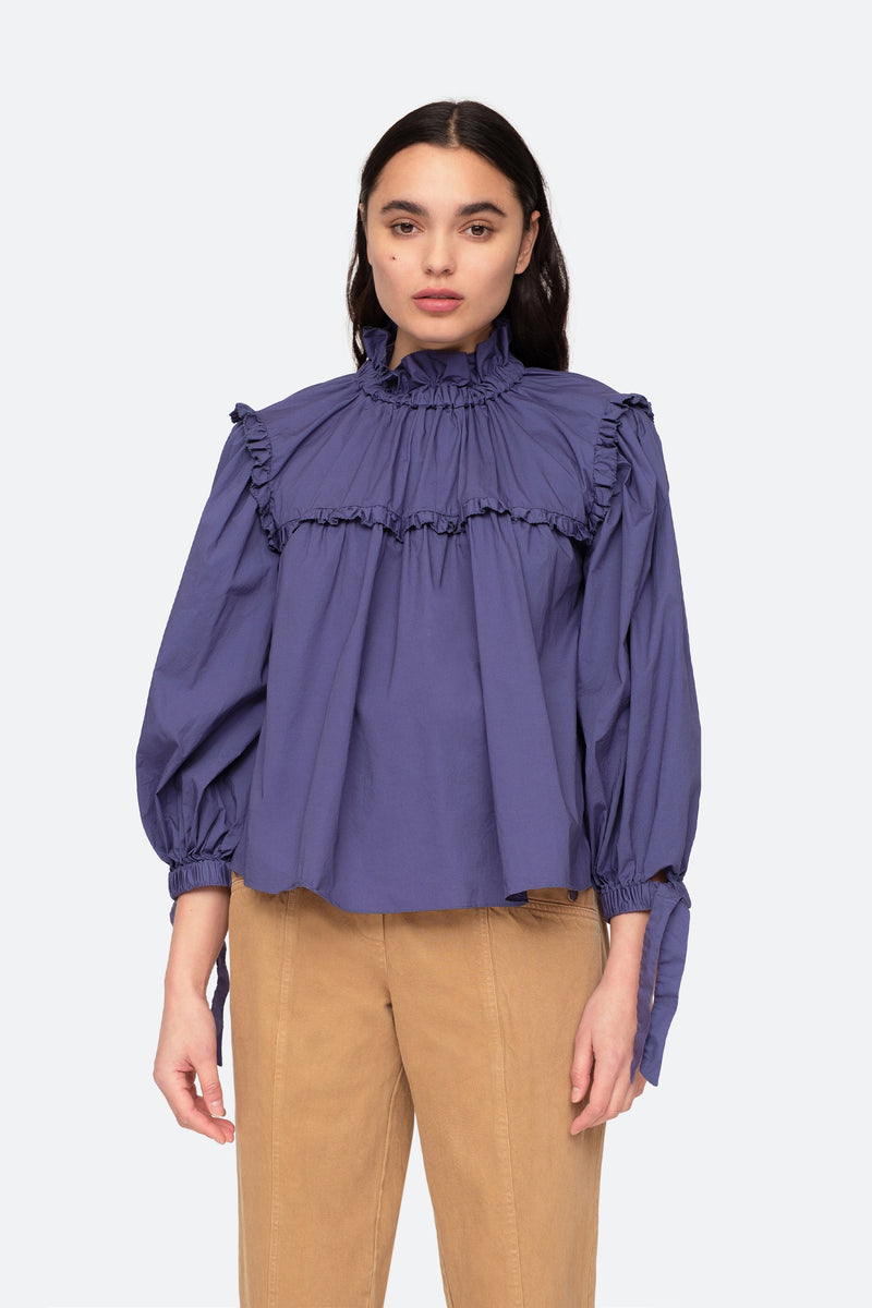Blue-Marlene blouse-Front View 2